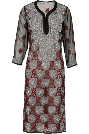 Women's Artisanal Black Fabric Onyx & Red Georgette Kaftan Small Antra Designs