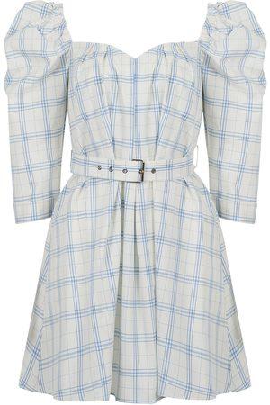 Women Party Dresses - Women's Artisanal Blue Cotton Plaid Mini Dress M/L NOCTURNE