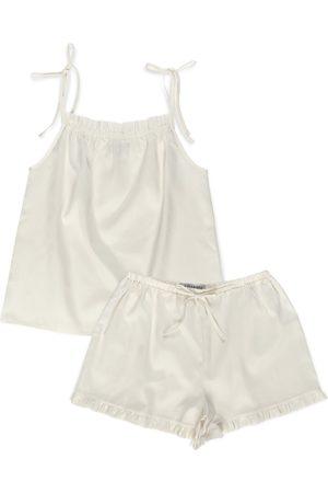 Women's Artisanal Ivory Cotton Sateen Lounge Set XS Epifania Nightwear