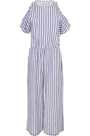 Women Jumpsuits - Women's Artisanal Blue Cotton Stripe Summer Jumpsuit Large Oh! Zuza