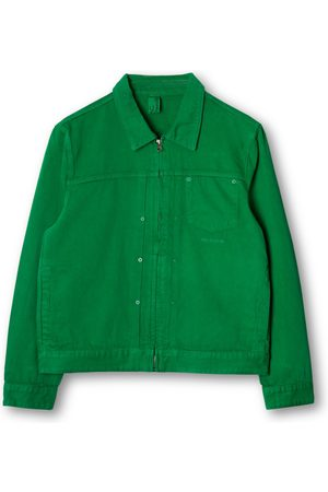 Women Denim Jackets - Women's Non-Toxic Dyes Green Cotton Classic Fit Denim Zip Jacket Large M.C.Overalls