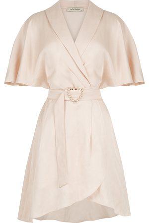 Women Party Dresses - Women's Artisanal Pink Linen Mini Wrap Dress-Blush Large NOCTURNE