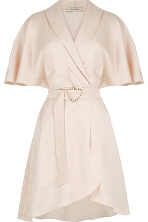 Women's Artisanal Pink Linen Mini Wrap Dress-Blush Medium NOCTURNE