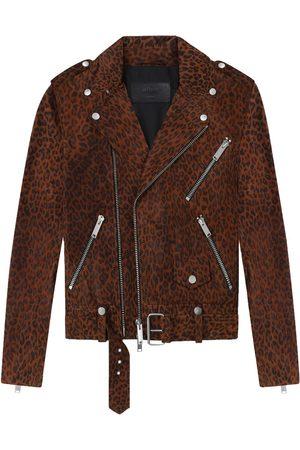 Women Leather Jackets - Women's Brown Cotton The Deuce Biker Jacket - Leopard Large Other