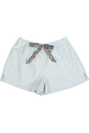 Women Pajamas - Women's Artisanal Green Cotton Peppermint Candy Stripe Lounge Shorts Large LE COLONEL