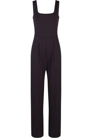 Women Bathrobes - Women's Artisanal Black Cotton Sierra Long Wide Leg Jumpsuit Large GUARDI