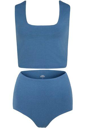 Women's Artisanal Blue Cotton Rae Two-Piece Matching Set - stone XS GUARDI