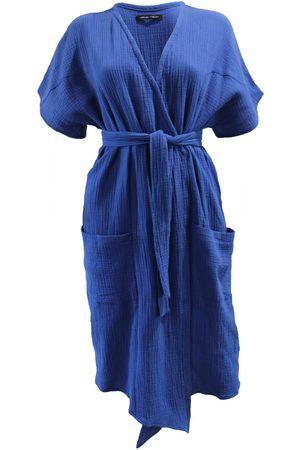 Women Tunic Dresses - Women's Artisanal Blue Cotton Bliss Tunic Dresss - Royal M/L Joeleen Torvick