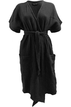 Women Tunic Dresses - Women's Artisanal Black Cotton Bliss Tunic Dress M/L Joeleen Torvick
