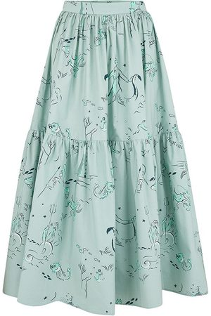 Women Printed Skirts - Women's Cotton Eidothea Skirt In Old Neptune Print Medium Klements