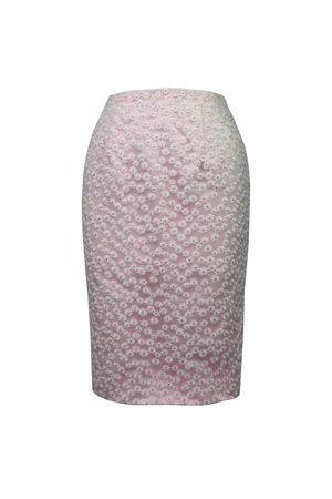 Women Pencil Skirts - Women's Pink Fabric Daisy Chain Pencil Skirt XL Luke Archer