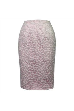 Women's Pink Fabric Daisy Chain Pencil Skirt Large Luke Archer