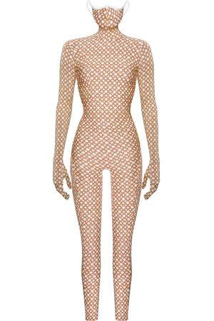 Women Jumpsuits - Women's Natural Monoskin Second Skin - Beige Ring Medium MONOSUIT