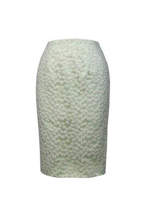 Women's Green Fabric Daisy Chain Pencil Skirt Small Luke Archer