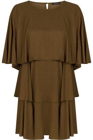 Women's Artisanal Olive Green Ruffled Mini Dress-Dark Medium NOCTURNE