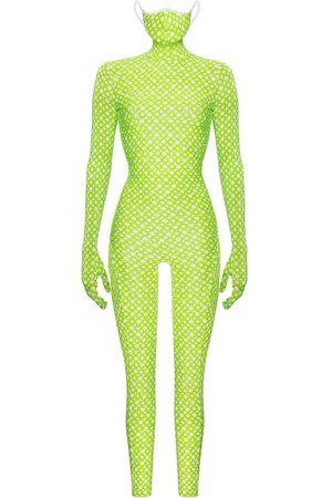Women's Green Monoskin Second Skin - Lime Ring Large MONOSUIT