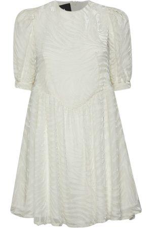 Women Party Dresses - Women's Artisanal White Velvet Chrissie Mini Devoré- Dress Medium Sveta Milano