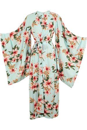 Women Kimonos - Women's Artisanal Pink/Purple/Blue Crepe Phaeros Orchids Kimono Medium Jennafer Grace