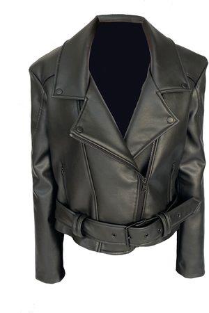 Women Leather Jackets - Women's Artisanal Black Leather Grape Biker Jacket Small Kajal New York