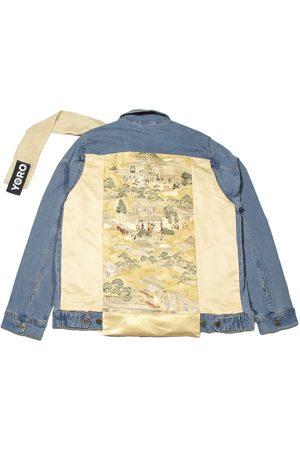 Men's Artisanal Gold Cotton Denim Jacket With A Collar Scarf- en Downtown L/XL 4649.REC
