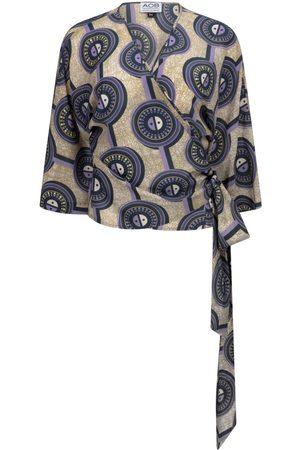 Women Wrap tops - Women's Silk Circular Print Wrap Top S/M AOB - Ankara on Brand