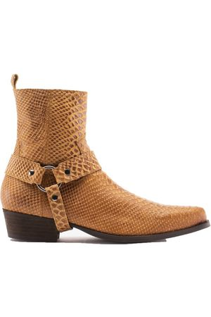 Men Cowboy Boots - Men's Brown/Yellow/Orange Leather Nomad Boot - Whiskey Python Shoes 7 UK Other