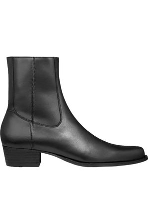 Men Cowboy Boots - Men's Black Leather Western Boot - Matte Shoes 9 UK Other
