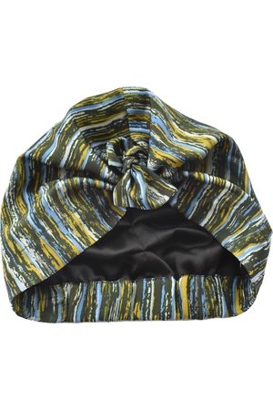 Women's Artisanal Green Silk Turban & Head Wrap - Liberty Of London Vintage 1950-60S Stripe- 100% Pure Scarf Large Tot Knots of Brighton
