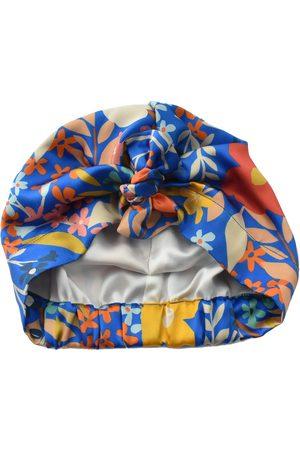 Women's Artisanal Blue Silk Pure Turban & Head Wrap - Liberty Of London Papercut Petals Scarf XL Tot Knots of Brighton
