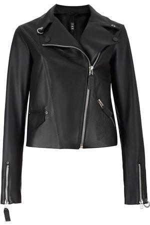 Women Leather Jackets - Women's Non-Toxic Dyes Black Leather Stamped-In Punkhead Genuine Biker Jacket XS 2RU2RA