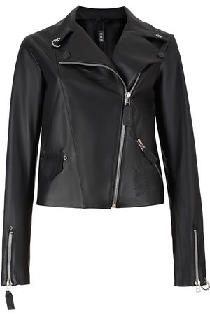 Women's Non-Toxic Dyes Black Leather Stamped-In Punkhead Genuine Biker Jacket Small 2RU2RA