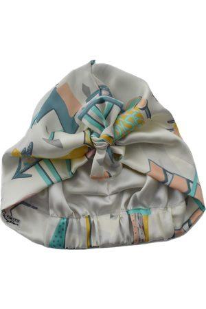 Women's Artisanal White Silk Turban & Head Wrap - Liberty Of London Hotel Motel - 100% Satin Scarf Small Tot Knots of Brighton