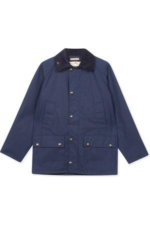 Men Outdoor Jackets - Men's Artisanal Navy Cotton Trinity Wax Jacket XL Burrows & Hare