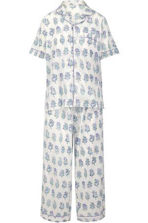 Women Short sleeves - Women's Artisanal Grey Cotton Cornflower Blue Maala Short-Sleeve Pyjama Set Medium Dilli Grey