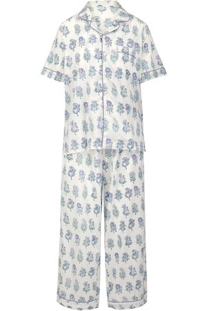 Women Short sleeves - Women's Artisanal Grey Cotton Cornflower Blue Maala Short-Sleeve Pyjama Set Small Dilli Grey