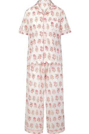 Women Short sleeves - Women's Artisanal Grey Cotton Rosewater Maala Short-Sleeve Pyjama Set Large Dilli Grey