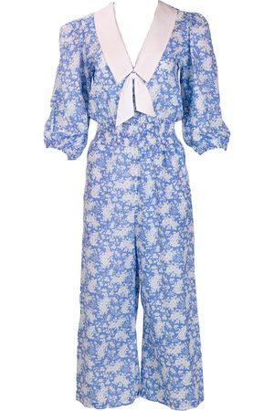 Women Jumpsuits - Women's Artisanal Blue Cotton The Diana Jumpsuit Small Kristinit
