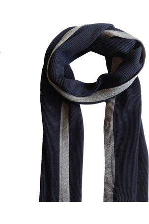 Men Scarves - Men's Organic Orange Wool Coastal Stripe Scarf - Navy Le Pirol