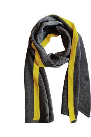 Men Scarves - Men's Organic Grey Wool Coastal Stripe Scarf Le Pirol
