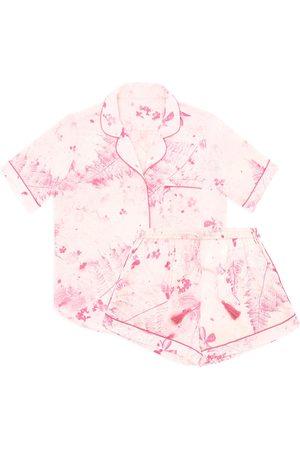 Women Sweats - Women's Pink/Purple Silk Fern Short Set Large KDK