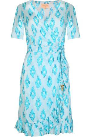 Women Party Dresses - Women's Aquamarine Fabric Dream Mini Ruffle Wrap Dress M/L Sophia Alexia