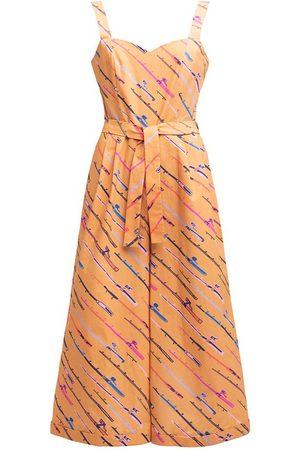 Women's Artisanal Yellow/Orange Cotton Sullo Jumpsuit 'Fishing Rod' XL Tomcsanyi