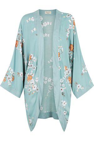 Women Kimonos - Women's Natural Fibres Orange Holly Kimono - Cosmos Print Violet Fish
