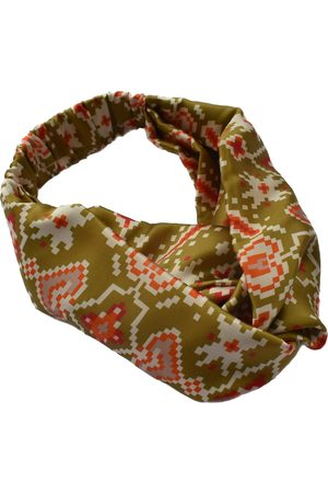 Women's Artisanal Gold Silk Twisted Turban Headband & Neck Scarf Small Tot Knots of Brighton