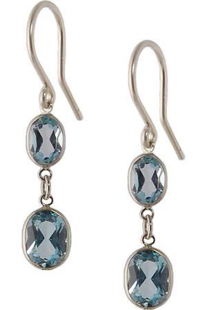Women Earrings - Women's Artisanal Blue Large Two Stone Bezel Set Topaz Earrings Amy Holton Designs