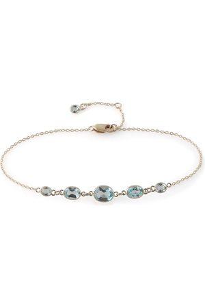 Women's Artisanal Blue Five Stone Bezel Set Topaz Bracelet Amy Holton Designs