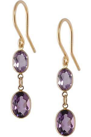 Women Earrings - Women's Artisanal Rose Gold Large Two Stone Bezel Set Amethyst Earrings Amy Holton Designs