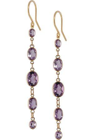 Women Earrings - Women's Artisanal Rose Gold Five Stone Bezel Set Amethyst Earrings Amy Holton Designs