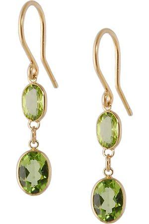 Women Earrings - Women's Artisanal Rose Gold Large Two Stone Bezel Set Peridot Earrings Amy Holton Designs