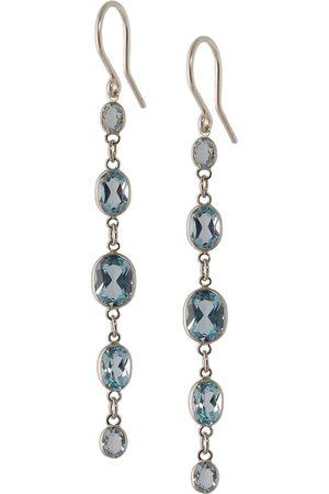 Women Earrings - Women's Artisanal Blue Five Stone Bezel Set Topaz Earrings Amy Holton Designs